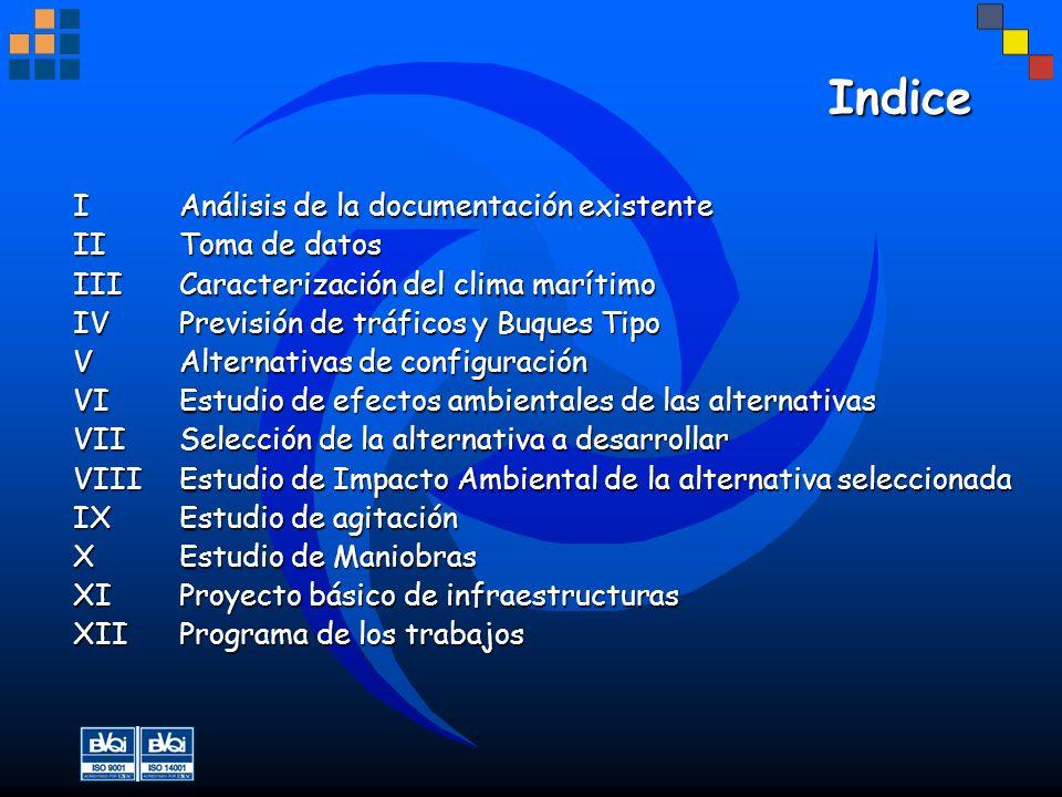 Indice IAnálisis de la documentación existente IIToma de datos III Caracterización del clima marítimo IVPrevisión de tráficos y Buques Tipo VAlternati