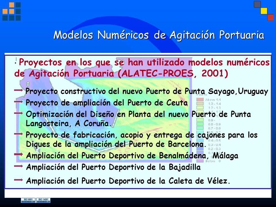 Modelos Numéricos de Agitación Portuaria Proyecto constructivo del nuevo Puerto de Punta Sayago,Uruguay Proyectos en los que se han utilizado modelos
