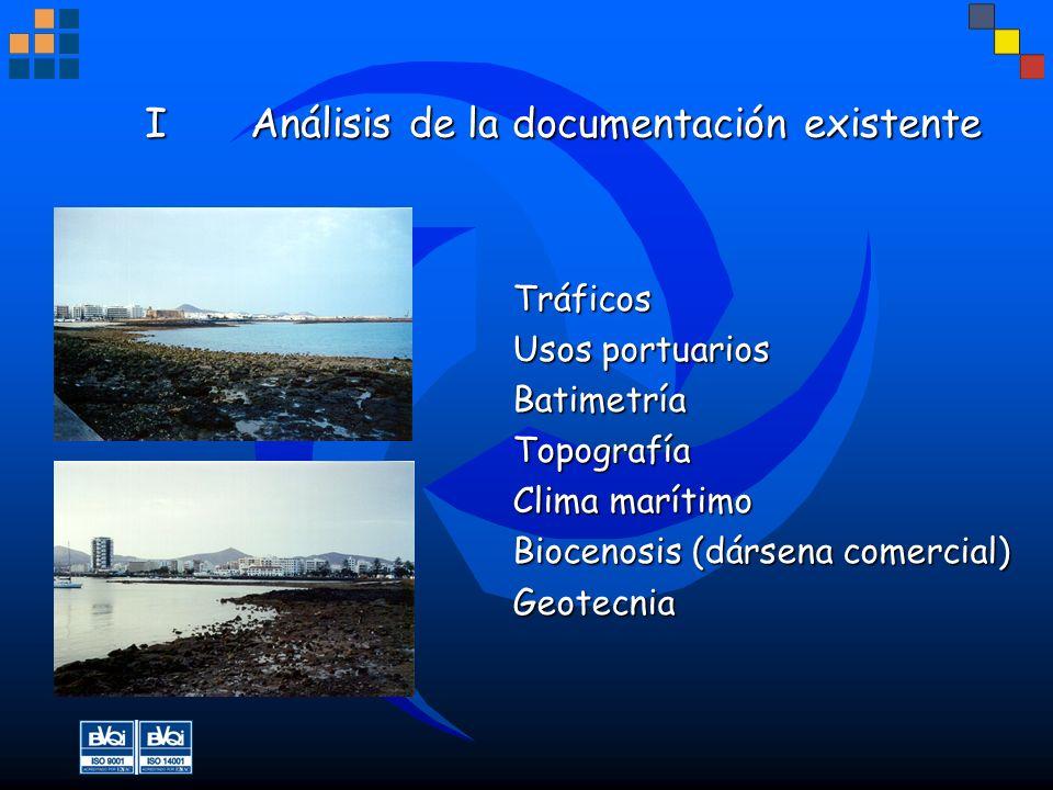 IAnálisis de la documentación existente Tráficos Usos portuarios BatimetríaTopografía Clima marítimo Biocenosis (dársena comercial) Geotecnia