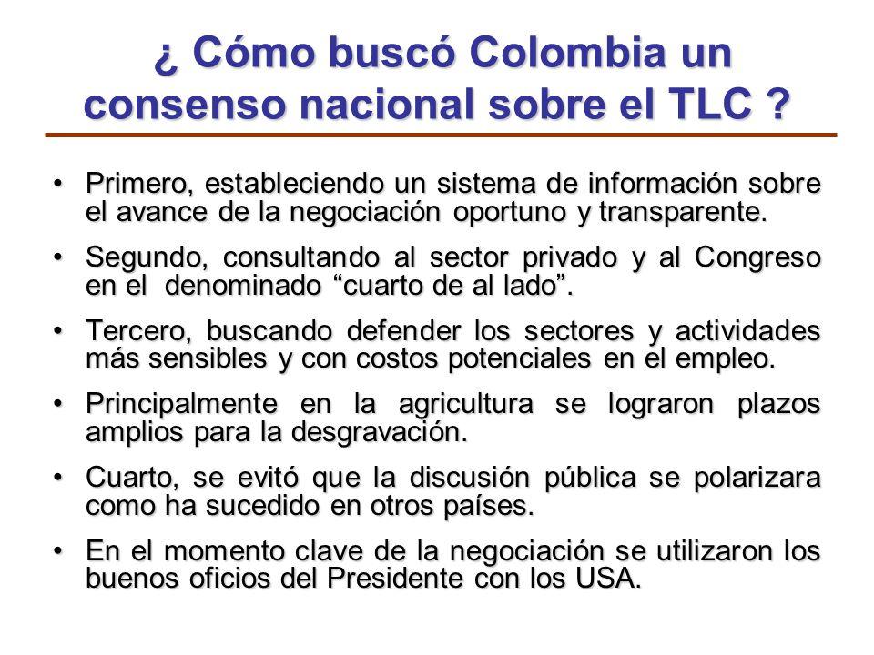¿ Cómo buscó Colombia un consenso nacional sobre el TLC ? ¿ Cómo buscó Colombia un consenso nacional sobre el TLC ? Primero, estableciendo un sistema