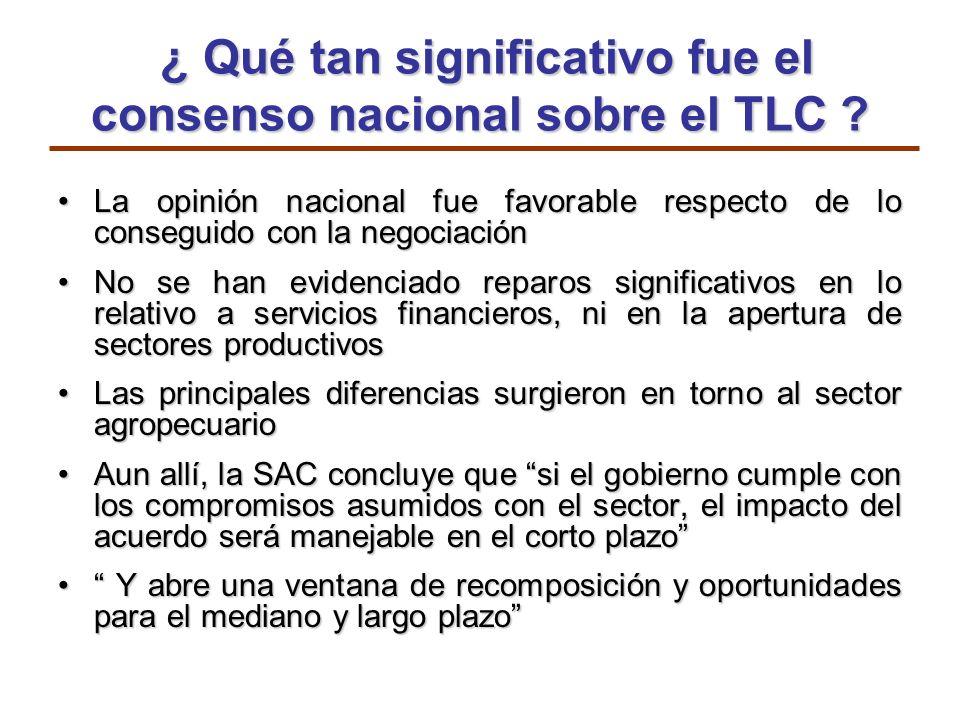¿ Qué tan significativo fue el consenso nacional sobre el TLC ? ¿ Qué tan significativo fue el consenso nacional sobre el TLC ? La opinión nacional fu