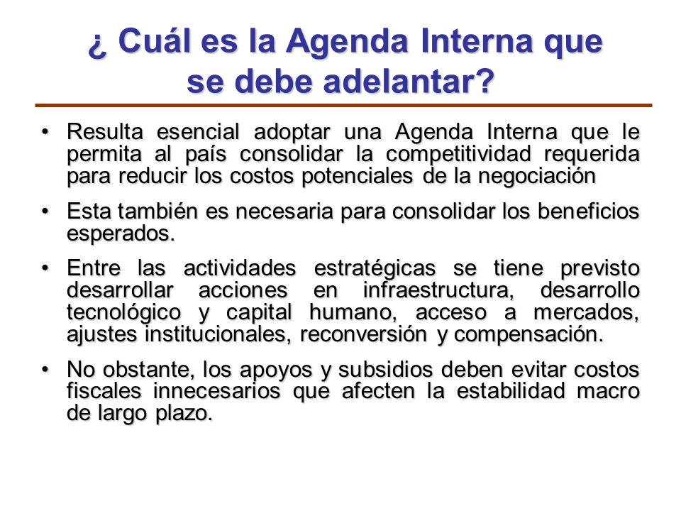 ¿ Cuál es la Agenda Interna que se debe adelantar? ¿ Cuál es la Agenda Interna que se debe adelantar? Resulta esencial adoptar una Agenda Interna que