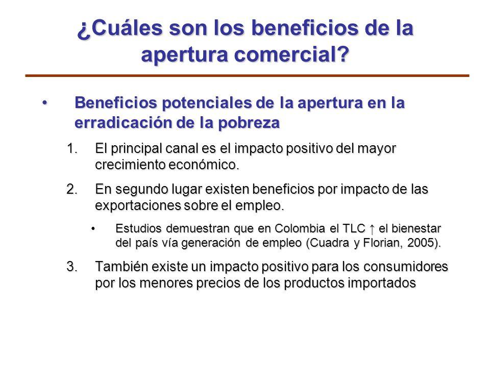 ¿ Cuáles son los beneficios de la apertura comercial? Beneficios potenciales de la apertura en la erradicación de la pobrezaBeneficios potenciales de