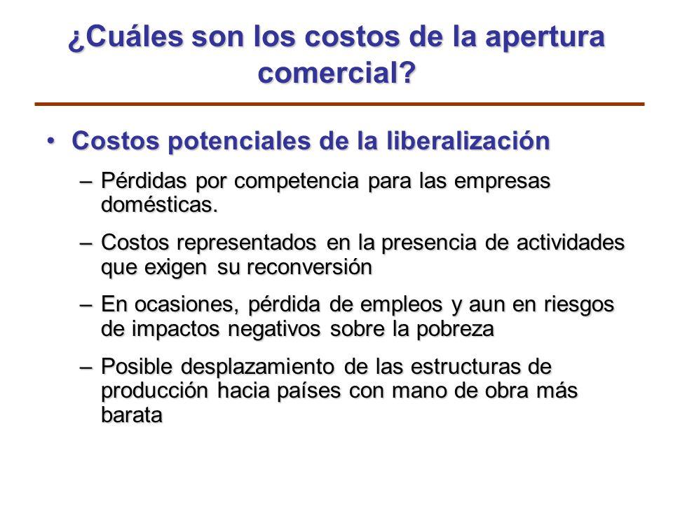 ¿Cuáles son los costos de la apertura comercial? Costos potenciales de la liberalizaciónCostos potenciales de la liberalización –Pérdidas por competen