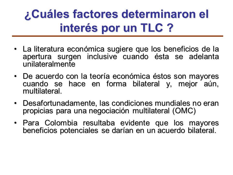 ¿Cuáles factores determinaron el interés por un TLC ? La literatura económica sugiere que los beneficios de la apertura surgen inclusive cuando ésta s