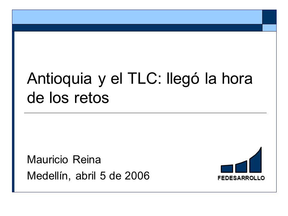 42 IVCR: 22 de 81 sectores* mineros e industriales (sin agroindustria) de Antioquia son competitivos Primeros 11 sectores competitivos (IVCR>1, período promedio 2000-2004 Fuente: cálculos de Fedesarrollo con datos DANE y Comtrade.