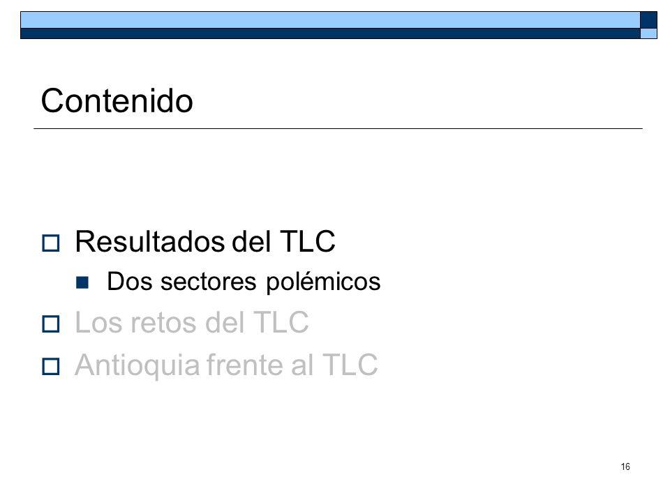 16 Contenido Resultados del TLC Dos sectores polémicos Los retos del TLC Antioquia frente al TLC