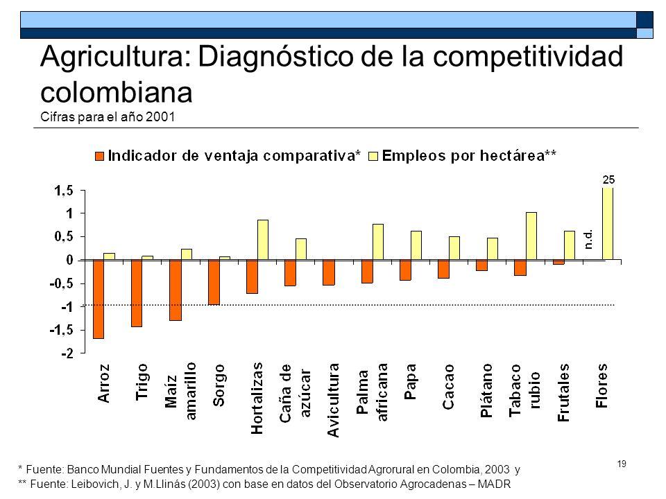19 Agricultura: Diagnóstico de la competitividad colombiana Cifras para el año 2001 * Fuente: Banco Mundial Fuentes y Fundamentos de la Competitividad