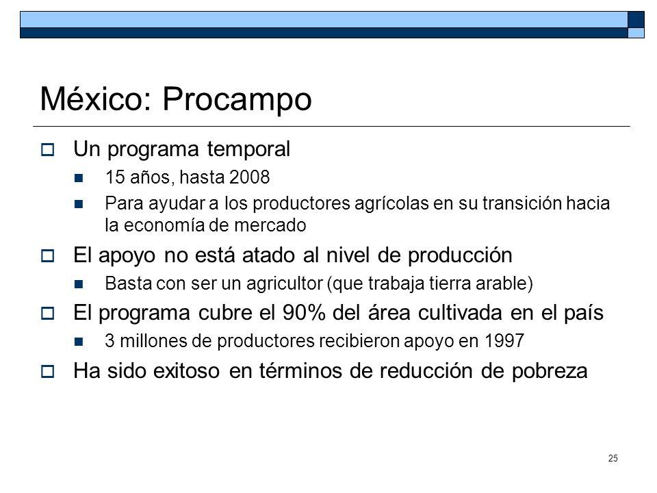 25 México: Procampo Un programa temporal 15 años, hasta 2008 Para ayudar a los productores agrícolas en su transición hacia la economía de mercado El