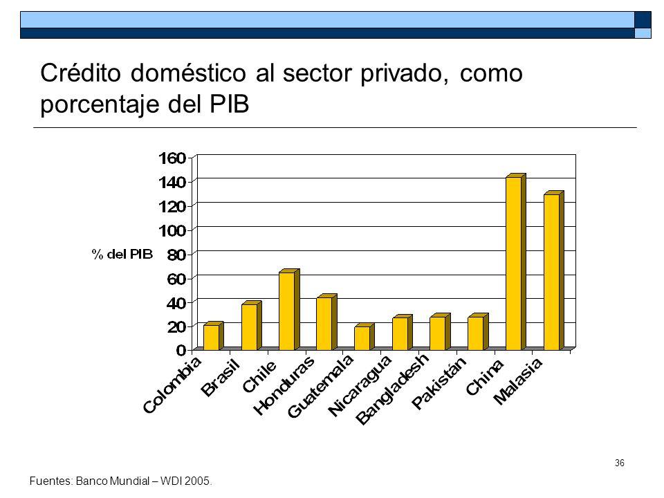 36 Crédito doméstico al sector privado, como porcentaje del PIB Fuentes: Banco Mundial – WDI 2005.
