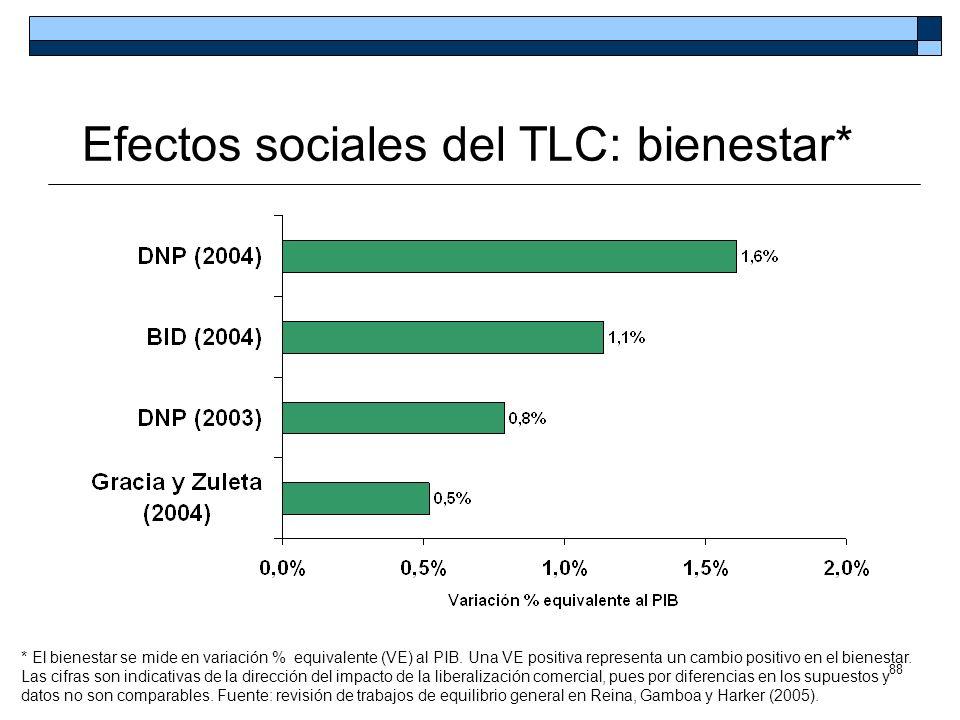 88 Efectos sociales del TLC: bienestar* * El bienestar se mide en variación % equivalente (VE) al PIB. Una VE positiva representa un cambio positivo e
