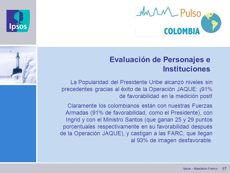 Ipsos – Napoleón Franco 17 Evaluación de Personajes e Instituciones La Popularidad del Presidente Uribe alcanzó niveles sin precedentes gracias al éxito de la Operación JAQUE: ¡91% de favorabilidad en la medición post.