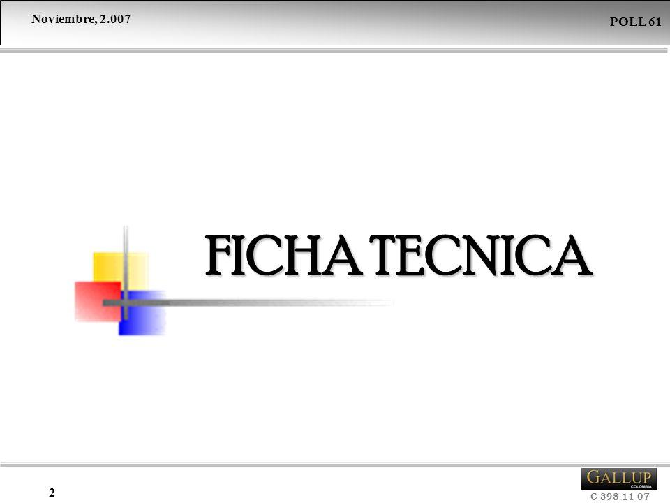 Noviembre, 2.007 C 398 11 07 POLL 61 2 FICHA TECNICA