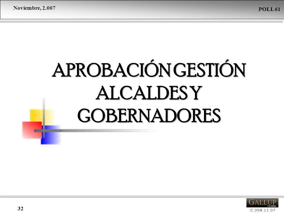 Noviembre, 2.007 C 398 11 07 POLL 61 32 APROBACIÓN GESTIÓN ALCALDES Y GOBERNADORES
