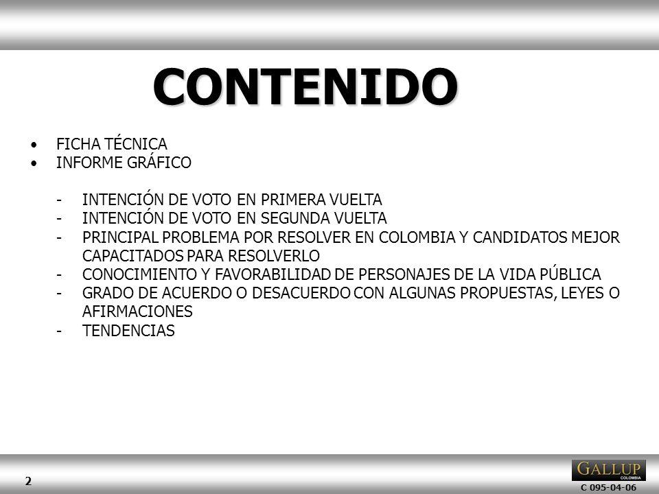 C 095-04-06 2 FICHA TÉCNICA INFORME GRÁFICO -INTENCIÓN DE VOTO EN PRIMERA VUELTA -INTENCIÓN DE VOTO EN SEGUNDA VUELTA -PRINCIPAL PROBLEMA POR RESOLVER