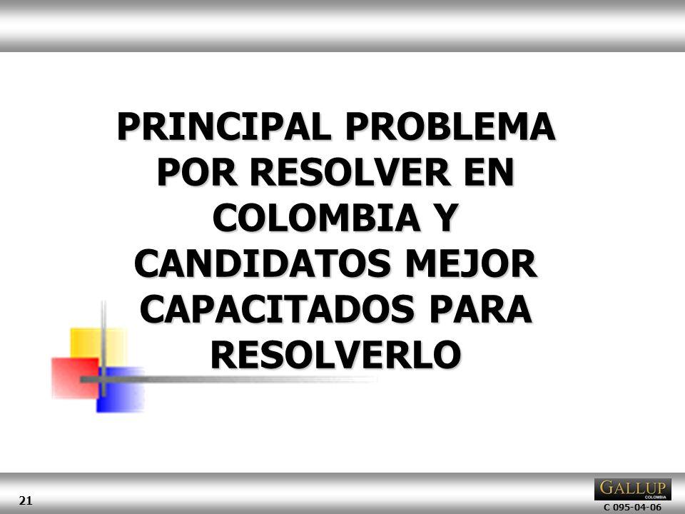 C 095-04-06 21 PRINCIPAL PROBLEMA POR RESOLVER EN COLOMBIA Y CANDIDATOS MEJOR CAPACITADOS PARA RESOLVERLO