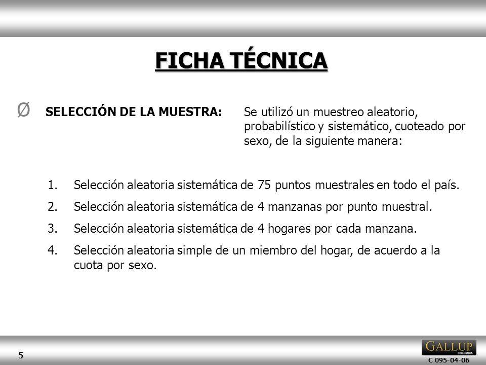 C 095-04-06 5 FICHA TÉCNICA Ø SELECCIÓN DE LA MUESTRA:Se utilizó un muestreo aleatorio, probabilístico y sistemático, cuoteado por sexo, de la siguien