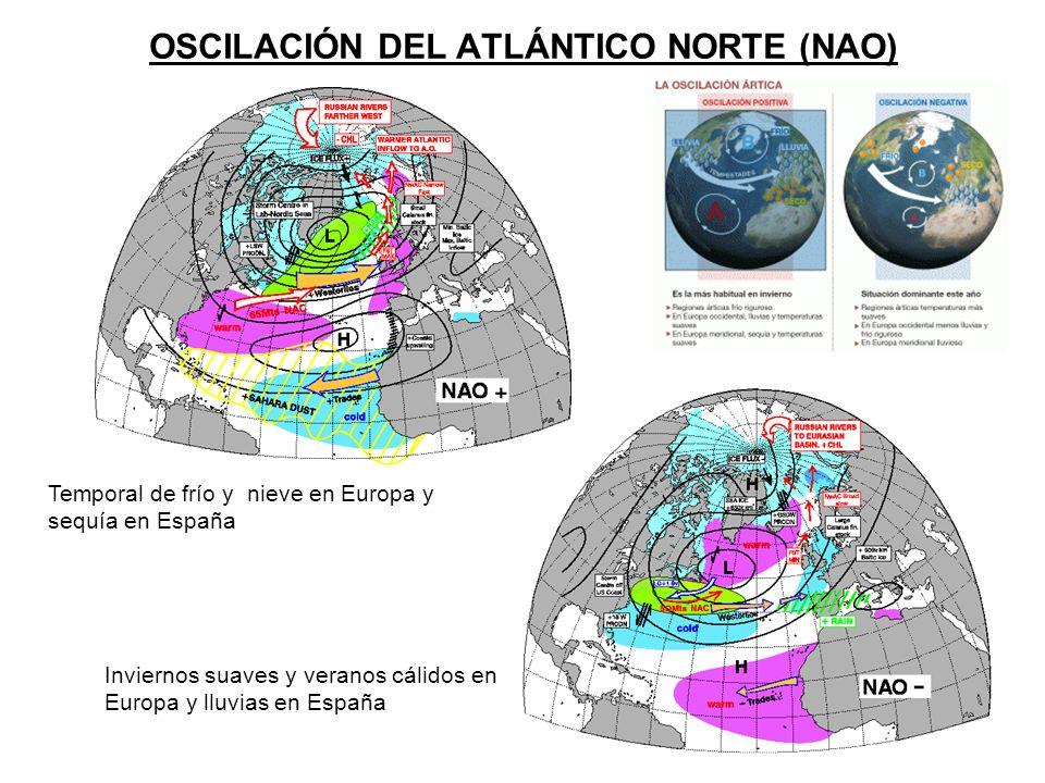 OSCILACIÓN DEL ATLÁNTICO NORTE (NAO) Temporal de frío y nieve en Europa y sequía en España Inviernos suaves y veranos cálidos en Europa y lluvias en E
