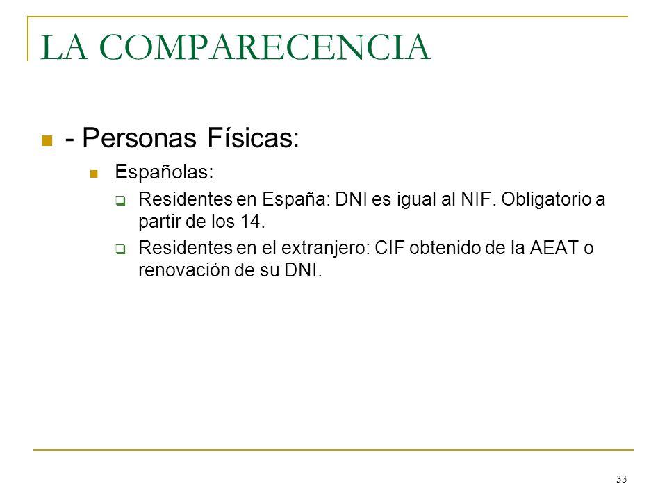 33 LA COMPARECENCIA - Personas Físicas: Españolas: Residentes en España: DNI es igual al NIF. Obligatorio a partir de los 14. Residentes en el extranj