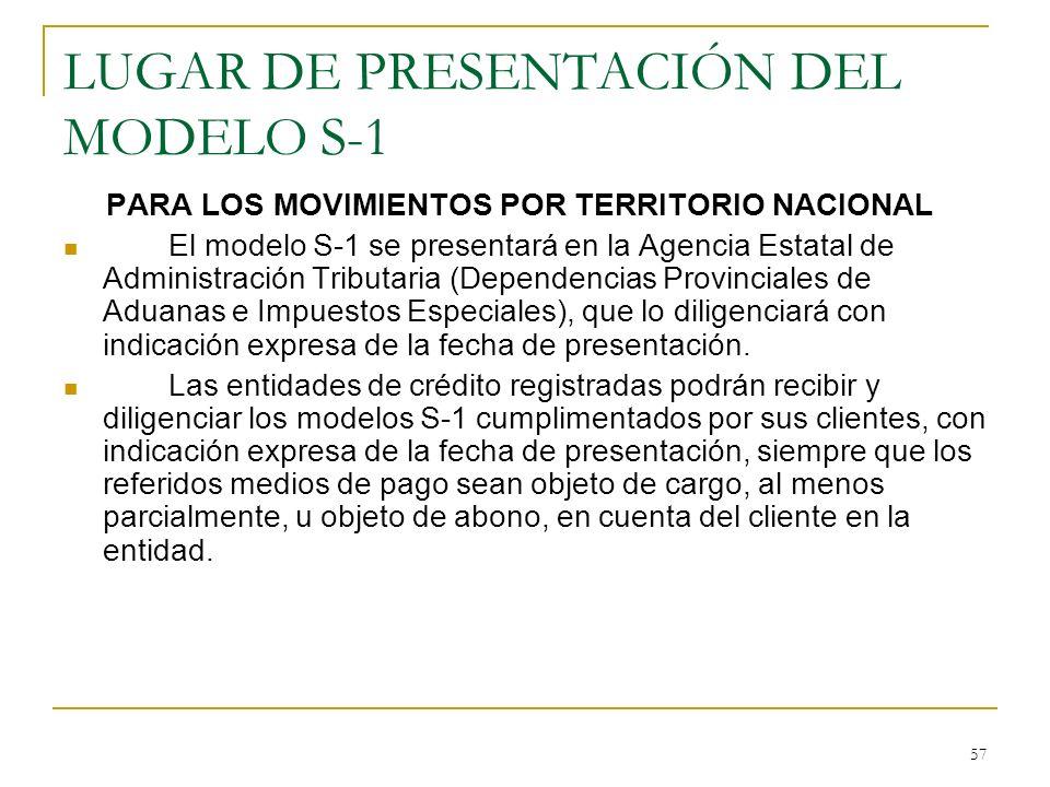 57 LUGAR DE PRESENTACIÓN DEL MODELO S-1 PARA LOS MOVIMIENTOS POR TERRITORIO NACIONAL El modelo S-1 se presentará en la Agencia Estatal de Administraci
