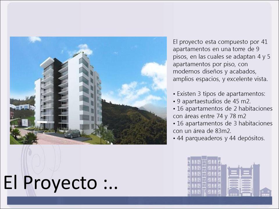 El proyecto esta compuesto por 41 apartamentos en una torre de 9 pisos, en las cuales se adaptan 4 y 5 apartamentos por piso, con modernos diseños y a