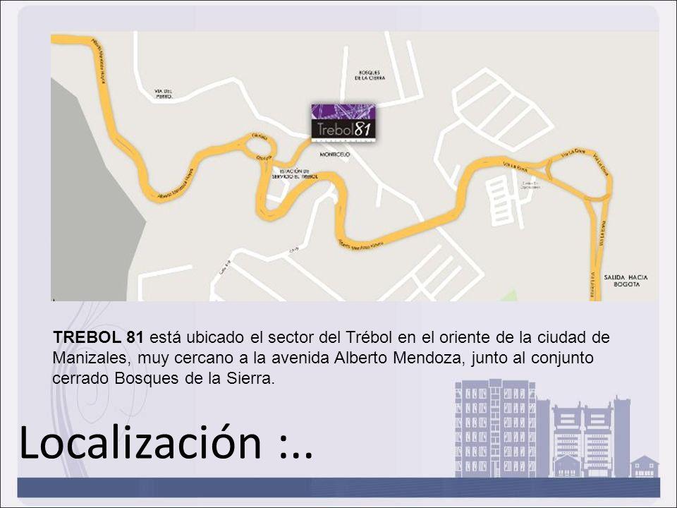Localización :.. TREBOL 81 está ubicado el sector del Trébol en el oriente de la ciudad de Manizales, muy cercano a la avenida Alberto Mendoza, junto