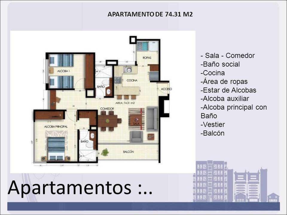 Apartamentos :.. APARTAMENTO DE 74.31 M2 - Sala - Comedor -Baño social -Cocina -Área de ropas -Estar de Alcobas -Alcoba auxiliar -Alcoba principal con