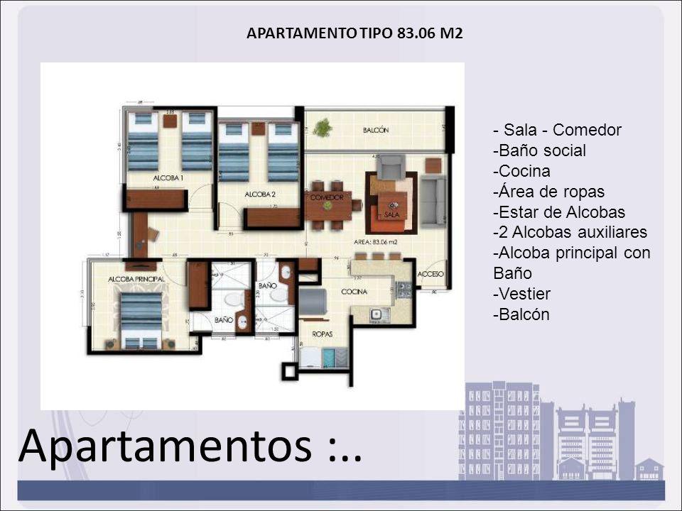Apartamentos :.. APARTAMENTO TIPO 83.06 M2 - Sala - Comedor -Baño social -Cocina -Área de ropas -Estar de Alcobas -2 Alcobas auxiliares -Alcoba princi