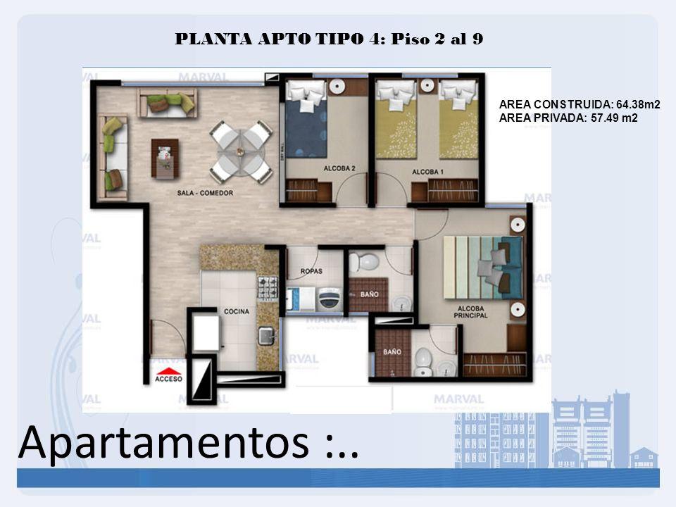 Apartamentos :.. PLANTA APTO TIPO 4: Piso 2 al 9 AREA CONSTRUIDA: 64.38m2 AREA PRIVADA: 57.49 m2