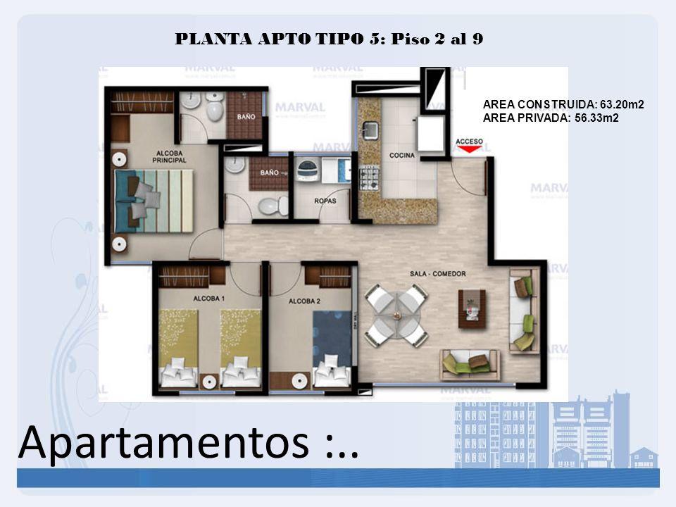 Apartamentos :.. AREA CONSTRUIDA: 63.20m2 AREA PRIVADA: 56.33m2 PLANTA APTO TIPO 5: Piso 2 al 9