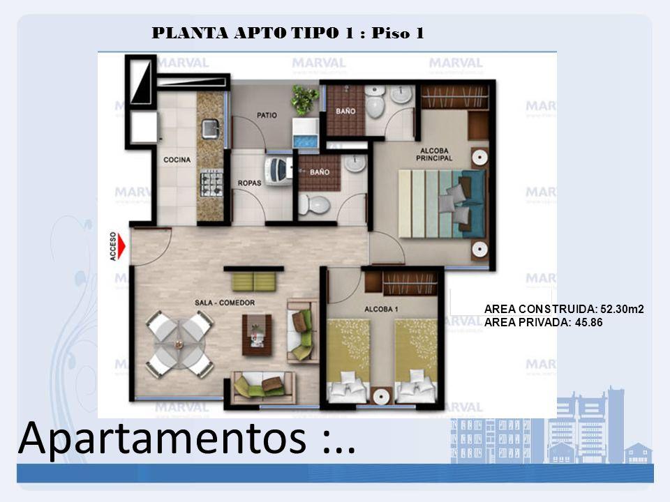 Apartamentos :.. PLANTA APTO TIPO 1 : Piso 1 AREA CONSTRUIDA: 52.30m2 AREA PRIVADA: 45.86