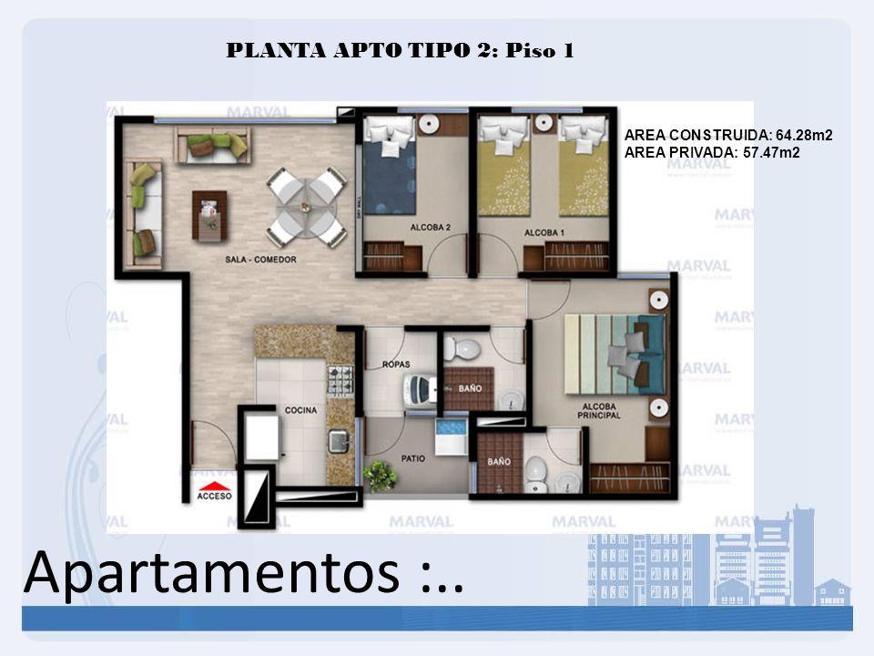 Apartamentos :.. PLANTA APTO TIPO 2: Piso 1 AREA CONSTRUIDA: 64.28m2 AREA PRIVADA: 57.47m2
