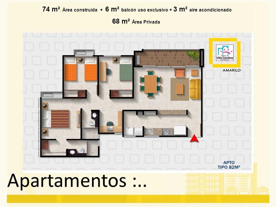 Apartamentos :.. 74 m², Área construida + 6 m² balcón uso exclusivo + 3 m² aire acondicionado 68 m² Área Privada