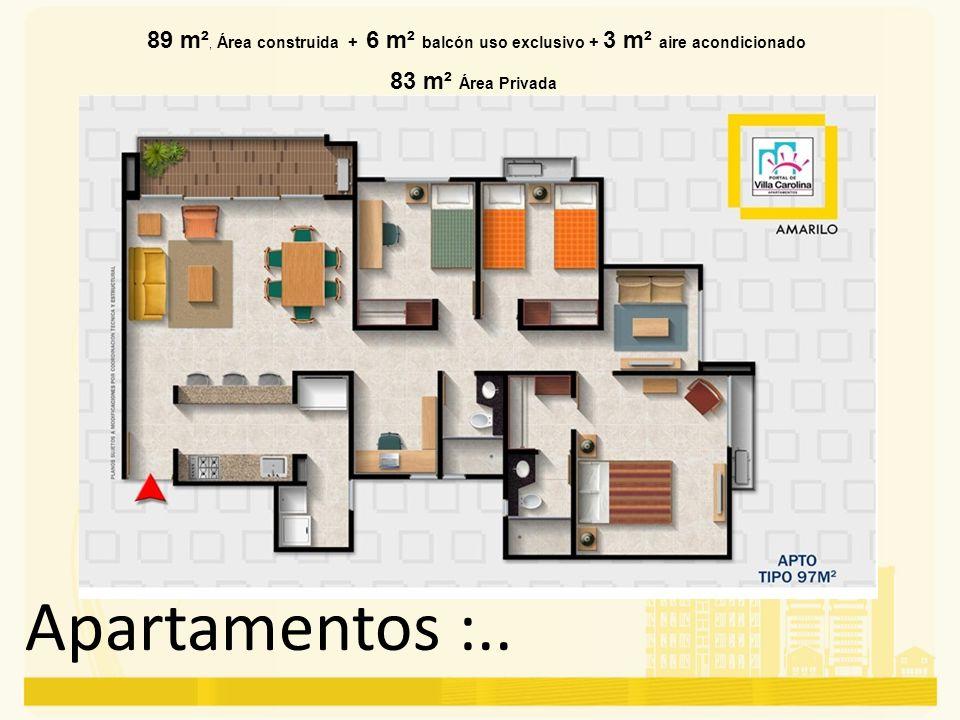 Apartamentos :.. 89 m², Área construida + 6 m² balcón uso exclusivo + 3 m² aire acondicionado 83 m² Área Privada