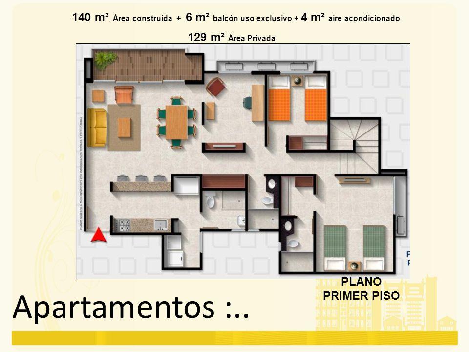 Apartamentos :.. 140 m², Área construida + 6 m² balcón uso exclusivo + 4 m² aire acondicionado 129 m² Área Privada PLANO PRIMER PISO