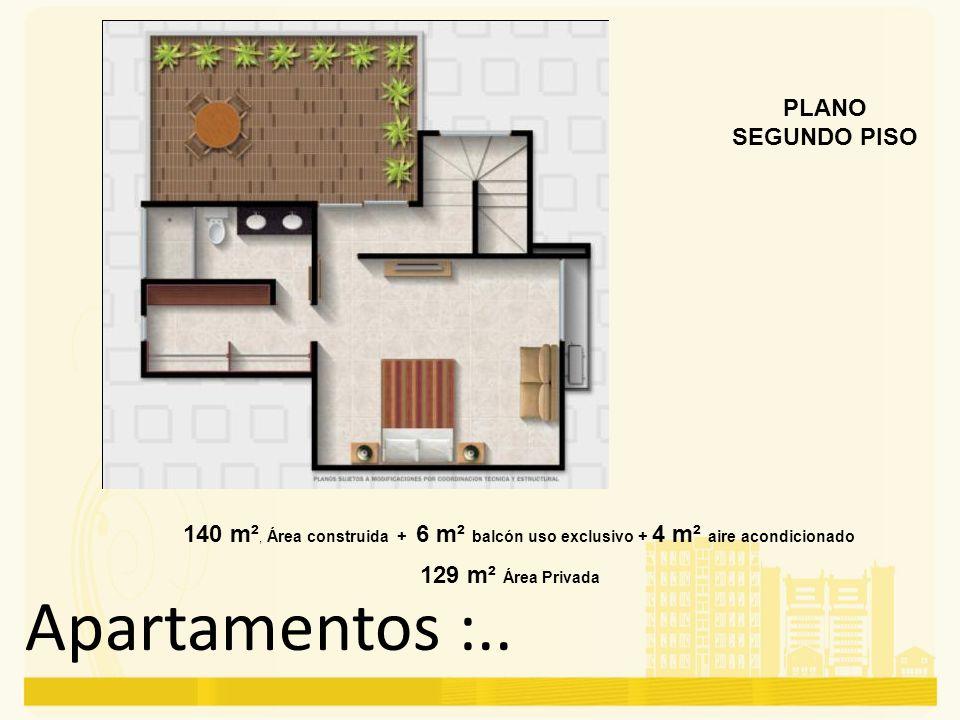 Apartamentos :.. PLANO SEGUNDO PISO 140 m², Área construida + 6 m² balcón uso exclusivo + 4 m² aire acondicionado 129 m² Área Privada