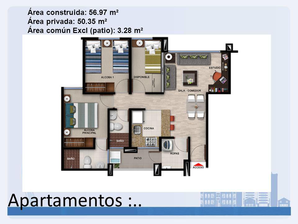 Apartamentos :.. Área construida: 56.97 m² Área privada: 50.35 m² Área común Excl (patio): 3.28 m²