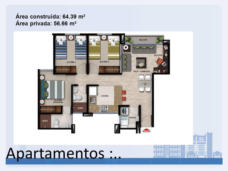 Apartamentos :.. Área construída: 64.39 m² Área privada: 56.66 m²