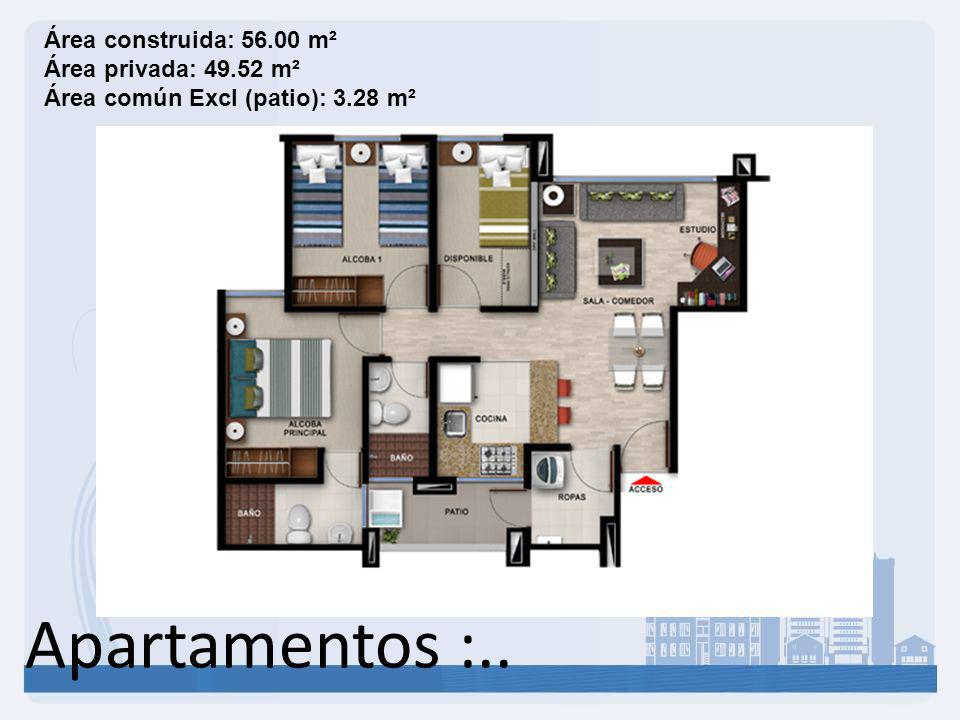 Apartamentos :.. Área construida: 46.49 m² Área privada: 40.85 m² Área común Excl (patio): 3.28 m²