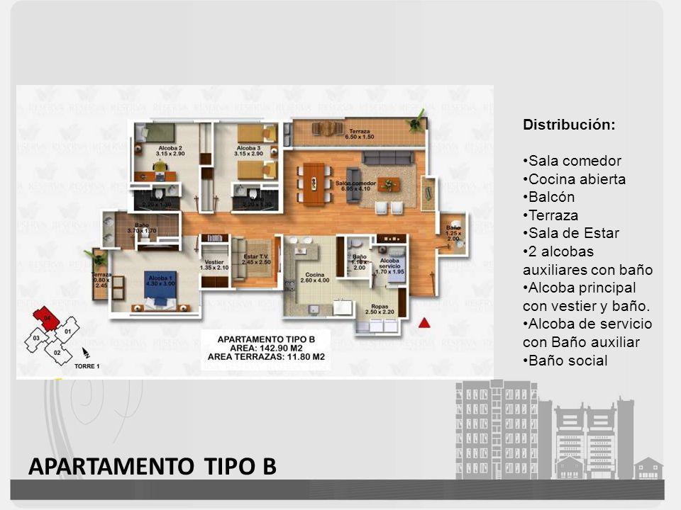 APARTAMENTO TIPO B Distribución: Sala comedor Cocina abierta Balcón Terraza Sala de Estar 2 alcobas auxiliares con baño Alcoba principal con vestier y