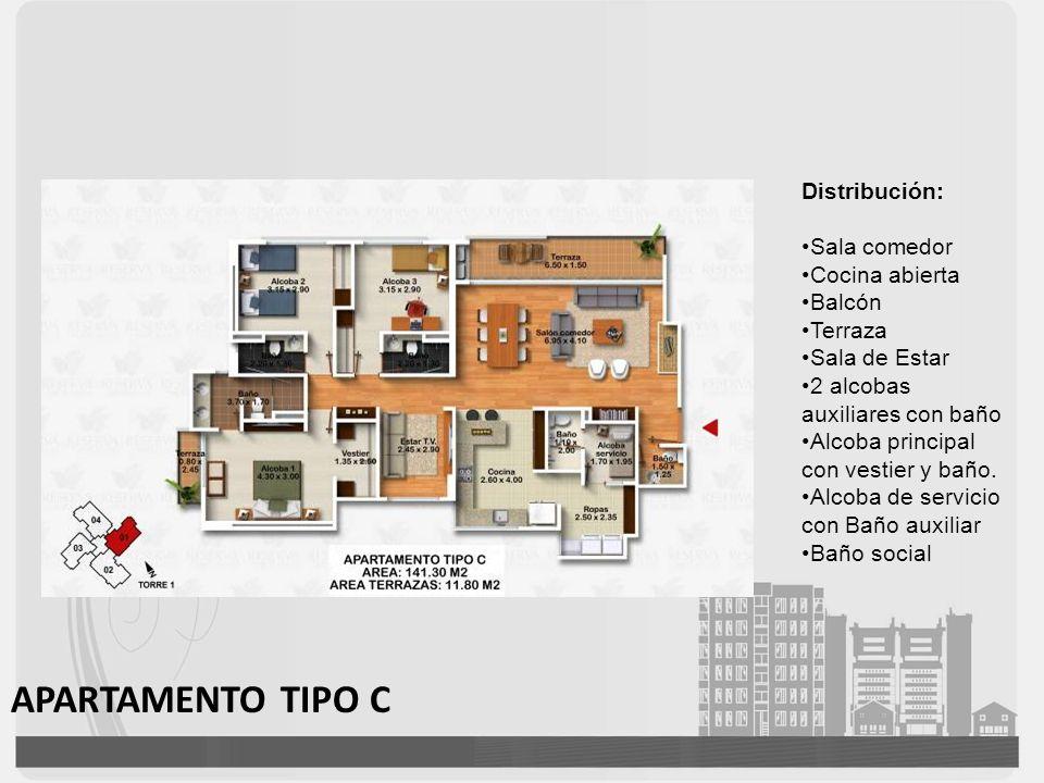APARTAMENTO TIPO C Distribución: Sala comedor Cocina abierta Balcón Terraza Sala de Estar 2 alcobas auxiliares con baño Alcoba principal con vestier y