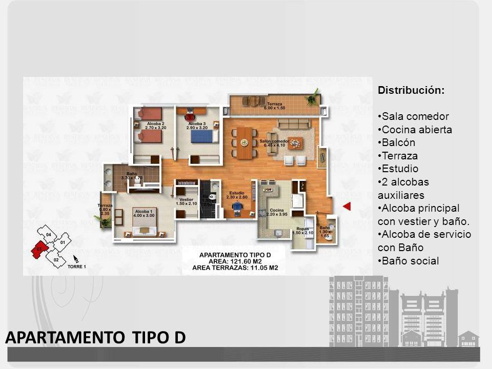 APARTAMENTO TIPO D Distribución: Sala comedor Cocina abierta Balcón Terraza Estudio 2 alcobas auxiliares Alcoba principal con vestier y baño. Alcoba d