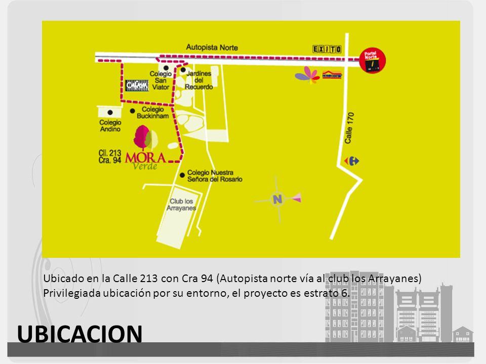 Ubicado en la Calle 213 con Cra 94 (Autopista norte vía al club los Arrayanes) Privilegiada ubicación por su entorno, el proyecto es estrato 6. UBICAC