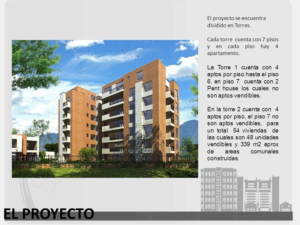 EL PROYECTO El proyecto se encuentra dividido en Torres. Cada torre cuenta con 7 pisos y en cada piso hay 4 apartamento. La Torre 1 cuenta con 4 aptos