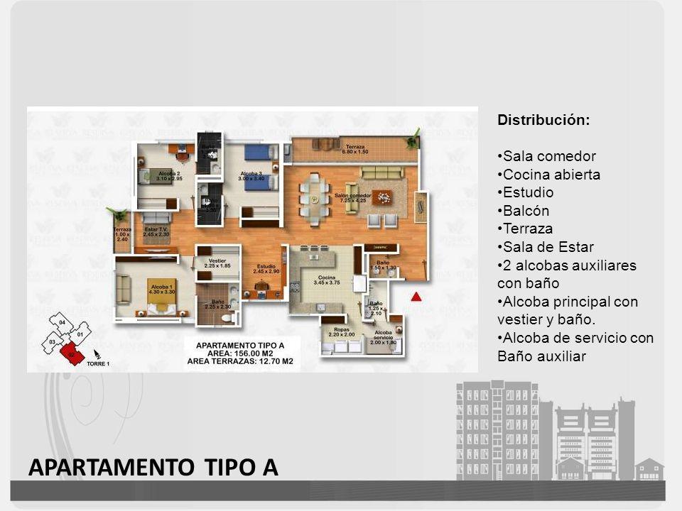 APARTAMENTO TIPO B Distribución: Sala comedor Cocina abierta Balcón Terraza Sala de Estar 2 alcobas auxiliares con baño Alcoba principal con vestier y baño.