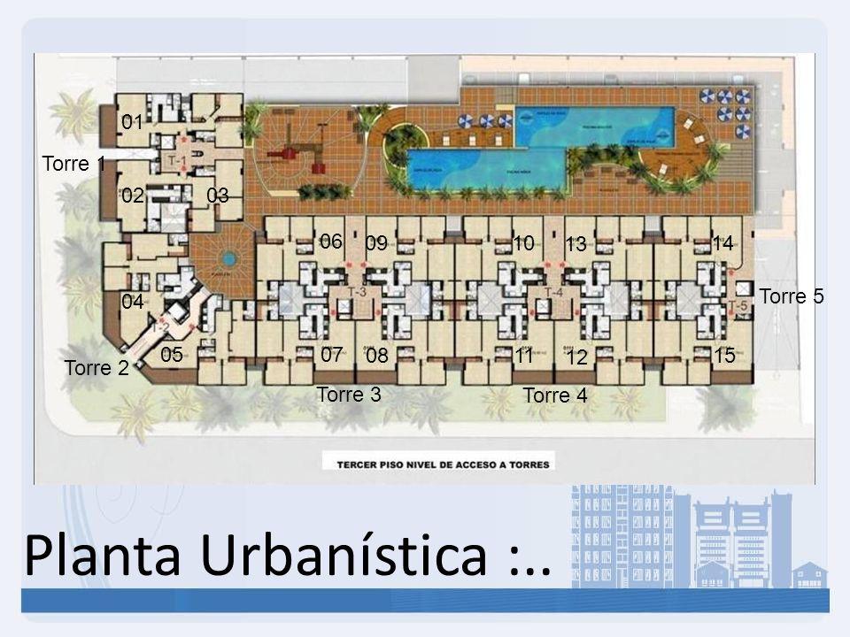 Planta Urbanística :.. Torre 1 Torre 2 Torre 3 Torre 4 Torre 5 01 02 04 05 06 07 09 08 10 11 13 12 14 15 03
