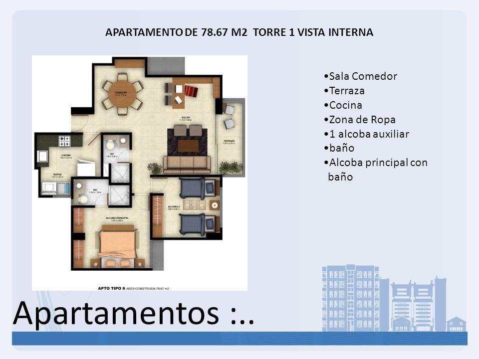 Apartamentos :.. APARTAMENTO DE 78.67 M2 TORRE 1 VISTA INTERNA Sala Comedor Terraza Cocina Zona de Ropa 1 alcoba auxiliar baño Alcoba principal con ba