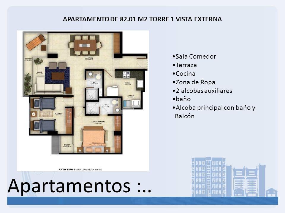 Apartamentos :.. APARTAMENTO DE 82.01 M2 TORRE 1 VISTA EXTERNA Sala Comedor Terraza Cocina Zona de Ropa 2 alcobas auxiliares baño Alcoba principal con