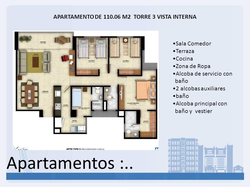 Apartamentos :.. APARTAMENTO DE 110.06 M2 TORRE 3 VISTA INTERNA Sala Comedor Terraza Cocina Zona de Ropa Alcoba de servicio con baño 2 alcobas auxilia