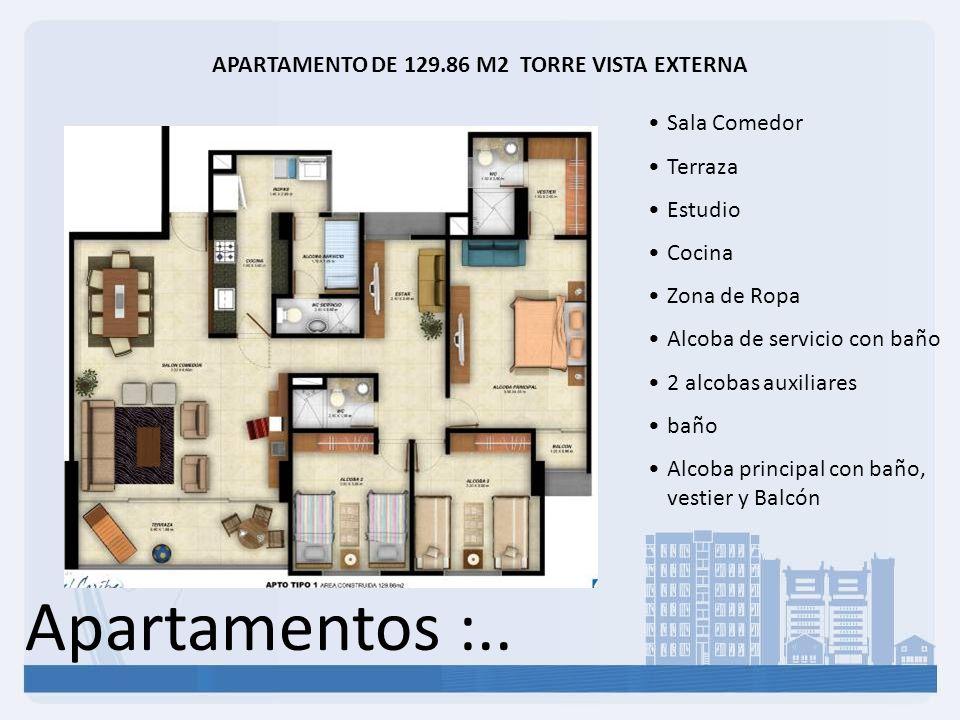 Apartamentos :.. APARTAMENTO DE 129.86 M2 TORRE VISTA EXTERNA Sala Comedor Terraza Estudio Cocina Zona de Ropa Alcoba de servicio con baño 2 alcobas a